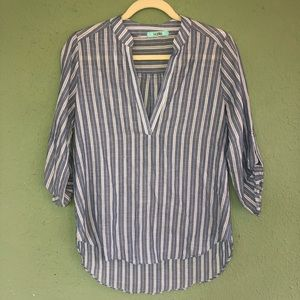 Karlie Blue and White Gauzy Striped Top Small